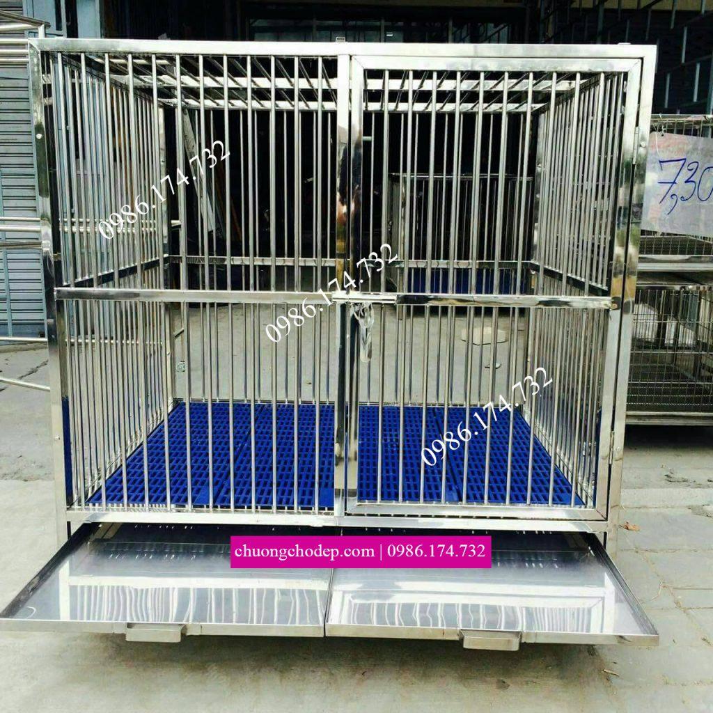chuồng chó inox lắp ghép cho chó poodle